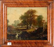 Sale 8088A - Lot 30 - John Constable  British 1776 - 1837 circle of -- Fisherman by a lake -- oil on panel      size 22 cm x 28 cm
