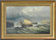 Sale 8162A - Lot 583 - William Broome of Ramsgate (1838 - 1898) - Ships On A Stormy Sea 39 x 59cm