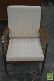 Sale 8275 - Lot 1062 - Teak Armchair With Rattan Back