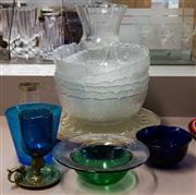 Sale 8310A - Lot 217 - An assortment of glasswares, including a set of 6 frosted salad bowls
