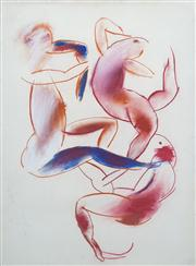 Sale 8410A - Lot 5015 - Anne Hall (1945 - ) - Untitled (Figures in Movement) 76.5 x 56cm (sheet size)
