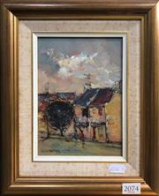 Sale 8563T - Lot 2074 - Barry Chamberlain Old Sydney, Millers Point, oil on board, 19 x 14cm, signed lower left