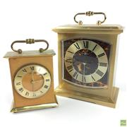 Sale 8649R - Lot 82 - Decorative Gilt Mantle Clock (H: 13cm) with a Smaller Example