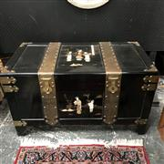 Sale 8699A - Lot 749 - Chinese Black Lacquered and Brass-Bound Trunk with applied figures, 100 x 52cm, height: 57cm