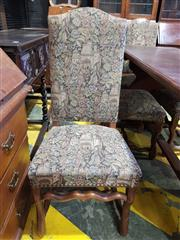 Sale 8774 - Lot 1017 - Set of Five (5) Louis XIV Style Beech High Back Chairs, fully upholstered in a landscape pattern tapestry, on shaped legs with stret...