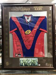 Sale 8805A - Lot 809 - Super League Adelaide Rams Signed Jersey in Timber Frame