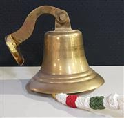 Sale 8976N - Lot 322 - Brass Ships Bell with Wall Mount and Knotted Lanyard, maker unknown (Bell - h:190 x d:300mm)