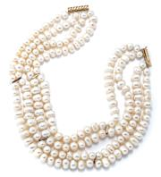 Sale 9029F - Lot 25 - A 14CT GOLD MULTISTRAND PEARL COLLAR; 4 strands of 8.5 - 11mm bullet shaped cultured freshwater pearls of good colour and lustre, le...