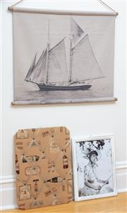 Sale 9070H - Lot 169 - Three wall decorations including a canvas ship, notice board and Hepburn print, height of print 47cm