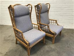 Sale 9092 - Lot 1081 - Pair of Cane wing back chairs with fabric cushions (h:113 x w:66 x d:55cm)