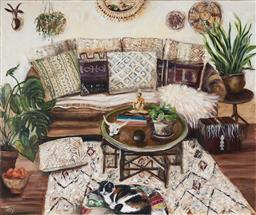Sale 9109A - Lot 5006 - Joy Lieber Interior With Cat acrylic on canvas 50.5 x 60.5 cm signed lower left