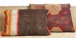 Sale 9123J - Lot 190 - Two throw cushions repurposed from Antique Kilim rugs, each with inserts and each approx 70 x 50cm