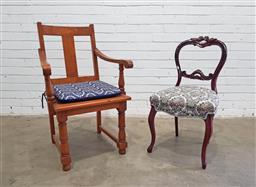 Sale 9134 - Lot 1489 - Carved balloon back chair on cabriole legs together with another