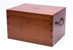 Sale 9185E - Lot 29 - A twin handled timber document box/ tea caddy with lead lining, Height 21cm x Width 35cm x Depth 26cm