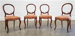 Sale 9215 - Lot 1062A - Set of Four Victorian Walnut Salon Chairs, with carved balloon backs, red patterned fabric seats & cabriole legs (h:87 w:44 d:48cm)