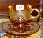Sale 7997 - Lot 75 - A VICTORIAN RUBY GLASS CABINET CUP & SAUCER WITH PROFUSE DECORATION IN GILT & ENAMEL