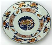 Sale 8088 - Lot 33 - Early Qing Export Ware Blue, White & Iron Red Plate