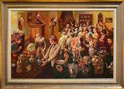 Sale 8309 - Lot 547 - Robert Young (1926 - ) - The Auction Room 80.5 x 120.5cm