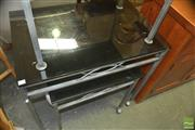 Sale 8331 - Lot 1391 - Pair of Glass Top Tables with Steel Base on Castors