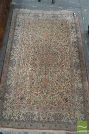 Sale 8460 - Lot 1046 - Silk Carpet, in red, blue & cream tones, with central medallion & arabesques (171 x 108 cm)