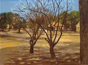 Sale 8538 - Lot 550 - Ray Crooke (1922 - 2015) - Tree Blossom, Island Village 44 x 59.5cm