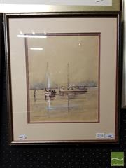 Sale 8491 - Lot 2058 - Laurence Kurmond A Day on the Lake, Watercolour, 46x39cm SLL