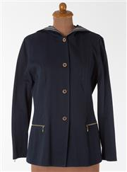 Sale 8550F - Lot 262 - A St. John by Marie Gray poly blend navy blue jacket with gilt buttons, gold blue and white striped collar and zipper hood, size M.