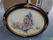 Sale 8609 - Lot 2084 - Large Oval Framed Tapestry of Crinoline Woman