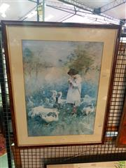 Sale 8645 - Lot 2032 - Decorative Print - Picking Daisies 71.5 x 56.5 (frame)