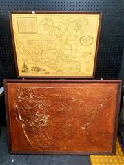 Sale 8671 - Lot 2086 - Relief Map of America & Another Map