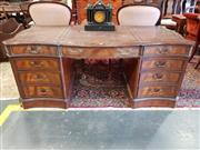Sale 8792 - Lot 1085 - Good George III Style Mahogany Serpentine Fronted Pedestal Desk, with tooled & gilt brown leather panels, fitted with nine drawers &...
