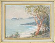 Sale 8845 - Lot 2001 - Dorothea (Dora) Elizabeth Toovey (1898 - 1986) - Entrance to the Hawksbury River from Pearl Bay Heights, 1976 29 x 39.5cm