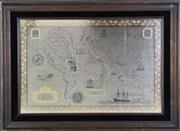 Sale 8952 - Lot 38 - Framed Royal Geographical Society 925/1000 Silver Map
