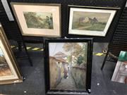 Sale 8981 - Lot 2025 - Group of (3) Early Watercolours Artist Unknown incl. European Town Scene and Villager 1907 (AF); Girl By the Pond; and an English Co...