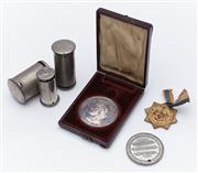 Sale 9080W - Lot 88 - A small group of wares comprising a Sysdney Exhibiting of Womens Industries 1888 commemorative coin, A Temperance medal,, and RSPCA...