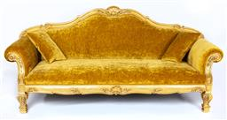 Sale 9140W - Lot 34 - A custom built sofa in Louis XV styled European hand carved wood with gold leaf finish, upholstered in Colefax and Fowler - Cosima G...