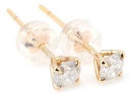 Sale 9168J - Lot 399 - A PAIR OF SOLITAIRE DIAMOND STUD EARRINGS; each set in 18ct gold with a round brilliant cut diamond, 2 totalling approx. 0.55ct, P (...