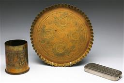 Sale 9173 - Lot 47 - A cased shaving strop together with A trench art artillery shell vase (H 12cm)and a brass tray (Dia 29cm)