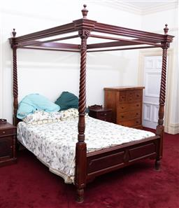 Sale 9190H - Lot 298 - A timber four poster bed with carved and twisted uprights, Height 215cm x Width approx 162cm x Length 226cm