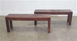 Sale 9188 - Lot 1484 - Pair of timber benches (h:46 x w:120 x d:32cm)