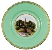 Sale 8040 - Lot 18 - Royal Worcester J Allen Cabinet Plate The Lock on The River Avon