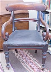 Sale 8440A - Lot 94 - A William IV bar back elbow chair with black upholstered seat and scrolled arms