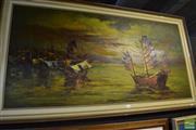 Sale 8471 - Lot 2039 - Artist Unknown Junk Ships, acrylic on board, 60 x 120cm, signed lower right