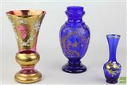 Sale 8486 - Lot 63 - Bohemia Ruby & Enamelled Vase & Two Others