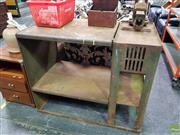Sale 8550 - Lot 1420 - Impressive Industrial Metal Work Bench with Vice makers label