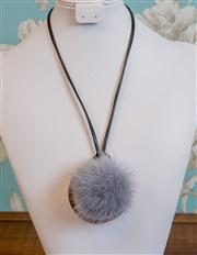 Sale 8577 - Lot 178 - A grey rabbit fur ball necklace with black leather strap & brass hoop, L 49cm, Condition: NEW