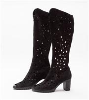 Sale 8685F - Lot 7 - A pair of Arche, French made laser-cut leather knee-high, peep-toe boots with zip to front, size 38