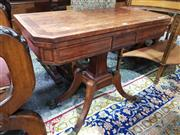 Sale 8774 - Lot 1018 - Probably Regency Mahogany Card Table, with rosewood banded top & inlaid frieze (lacking interior felt), on a shaped support & four o...