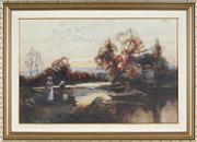 Sale 8845 - Lot 2018 - Artist Unknown (early C20th) - Waiting to Cross the River 30 x 45.5cm