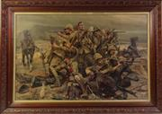 Sale 9003 - Lot 58 - Framed Oak Print Of Western Forces At War (Some Wear) (89cm x 62cm)